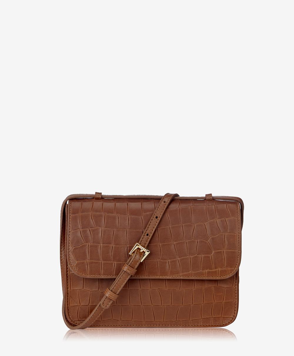 Abbot Crossbody Handbag Brown Embossed Nappa Croco Leather ABT-CRS-BRN