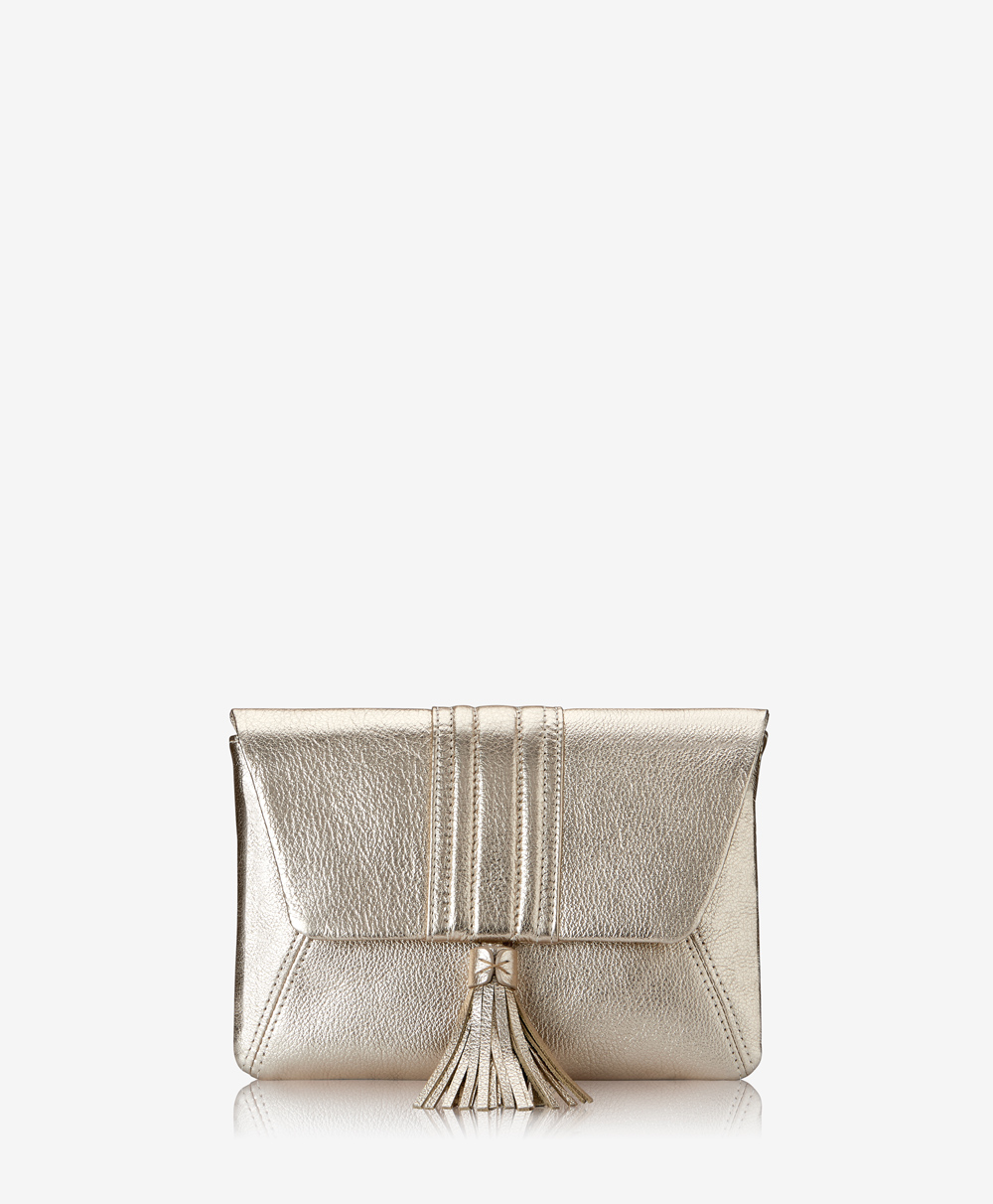 Ava Clutch White Gold Metallic Goatskin AVA-GTI-WTG