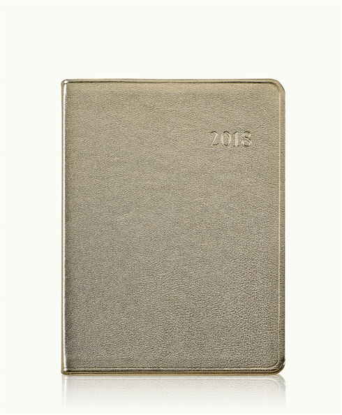 2014 Desk Diary White Gold Metallics Leather