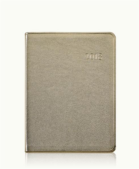 2014 Desk Diary White Gold Metallics Leather