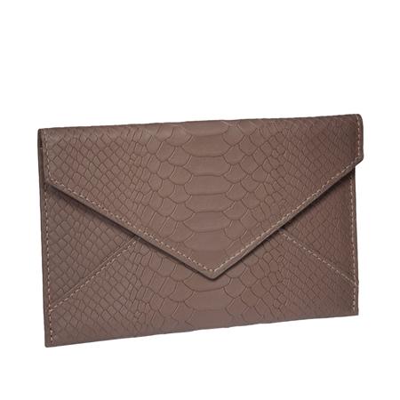 Taupe Medium Envelope  - Embossed Python