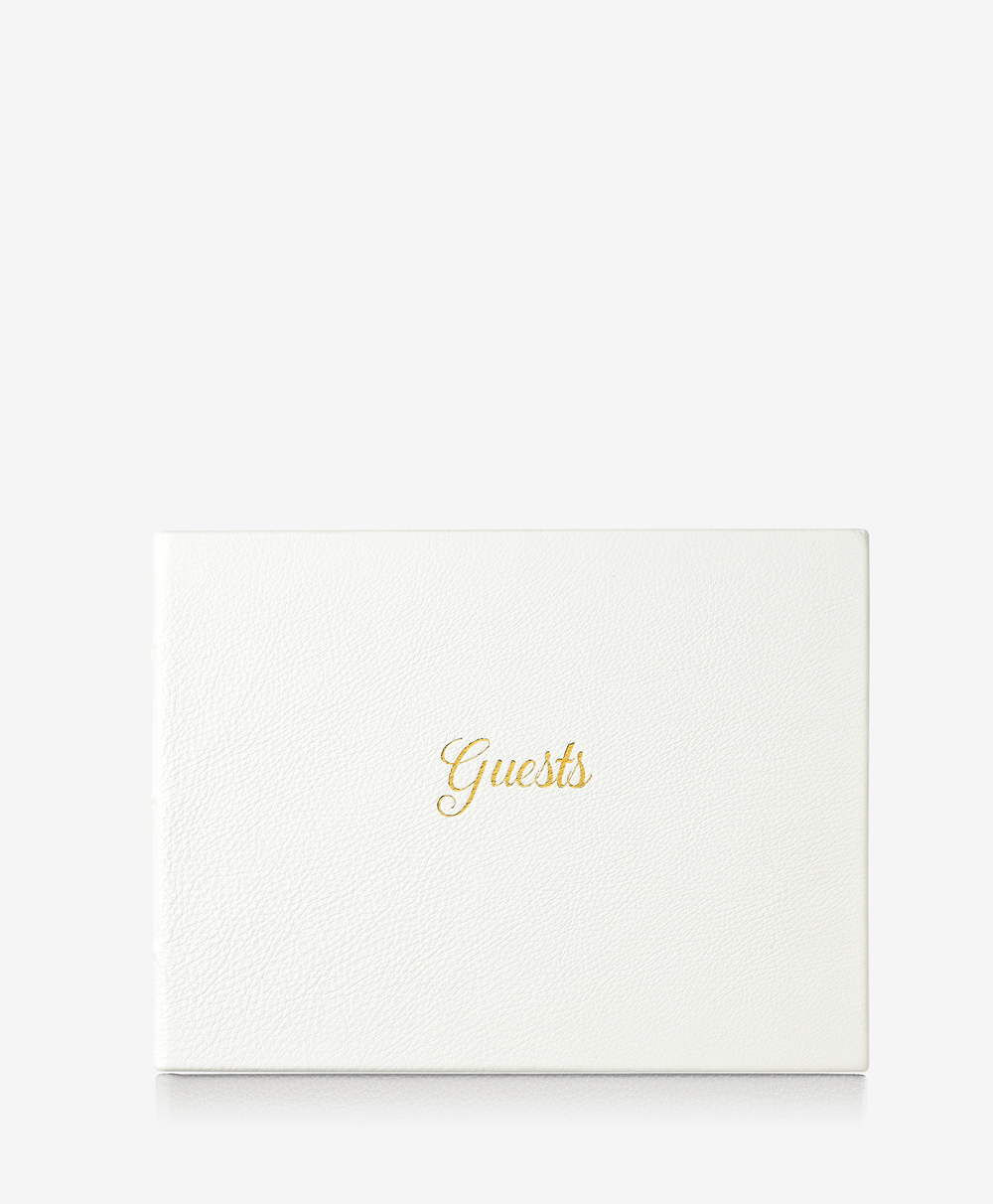 Guest Book White Full Grain Leather GSB-FLO-WHT