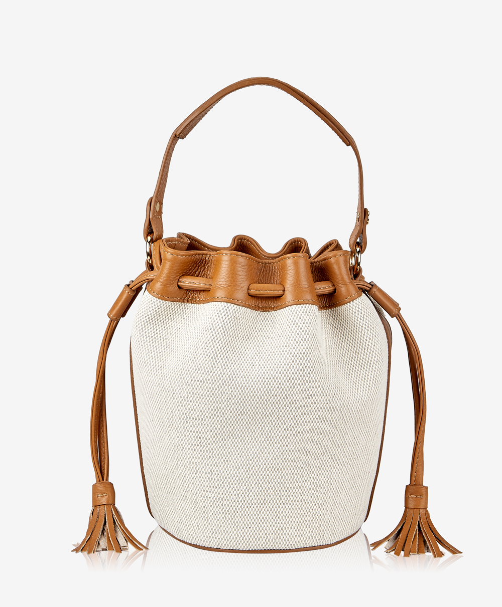 GiGi New York Genevieve Bucket Bag Italian Canvas with Camel Calfskin Leather