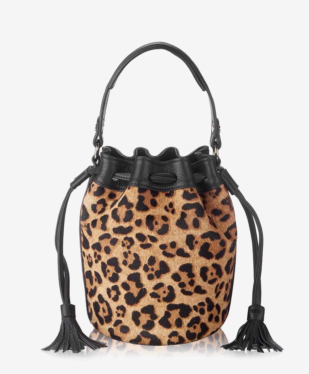 Genevieve Bucket Bag Leopard Italian Haircalf GWN-HAI-LEP