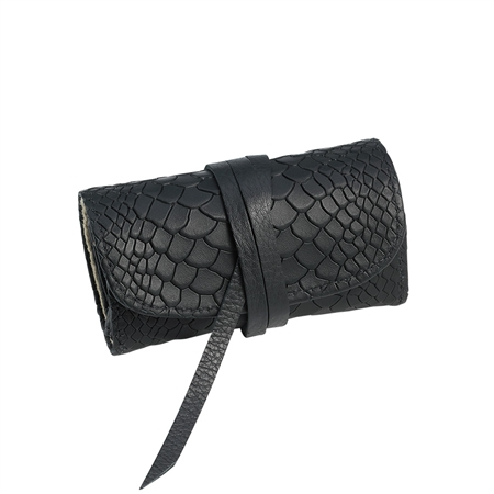 Black Small Jewelry Roll  - Embossed Python