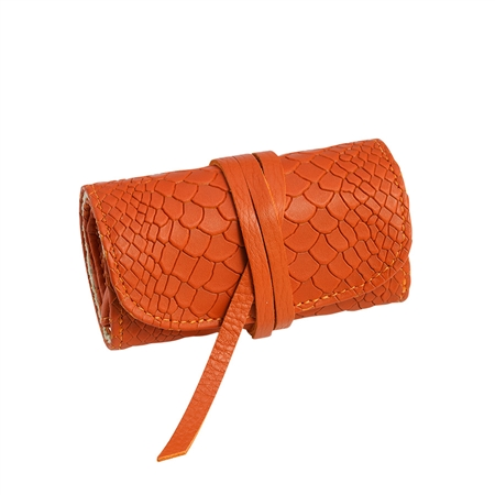 Orange Small Jewelry Roll  - Embossed Python