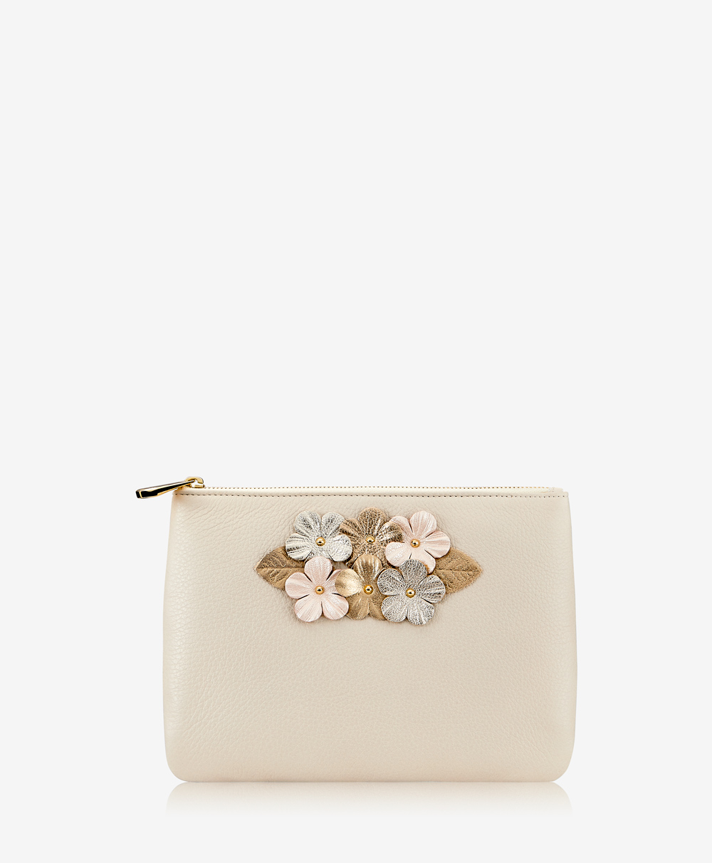 Elie Floral Applique Clutch Ivory Napa Luxe OBA-GIF2-LUX-IVY