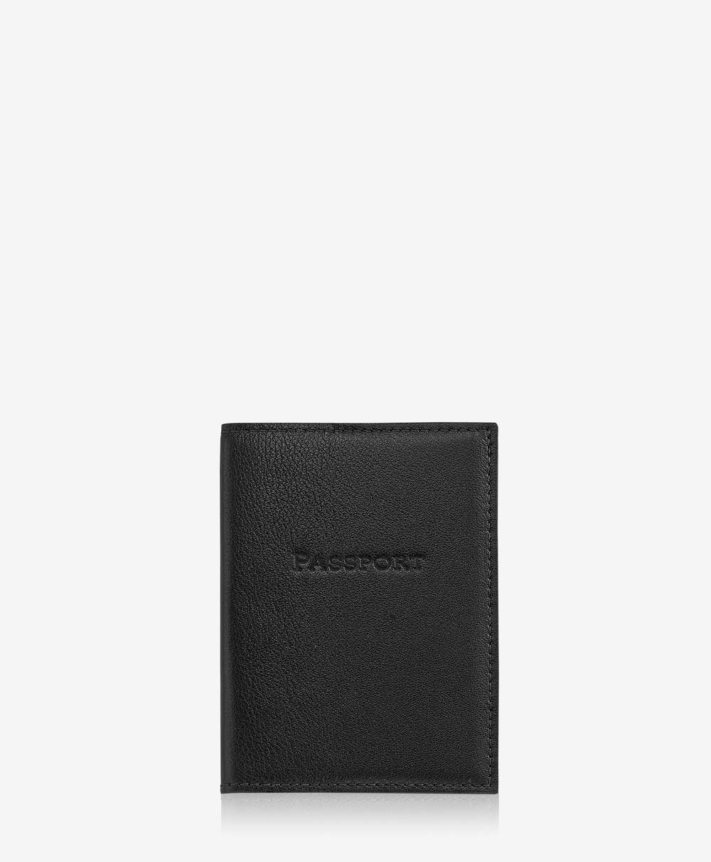 Passport Case Black Traditional Leather