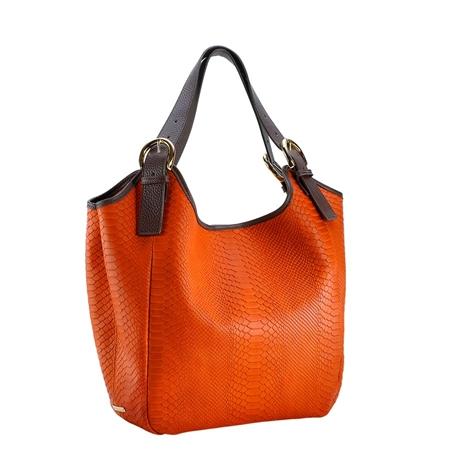 Orange Ellen Bag - Embossed Python