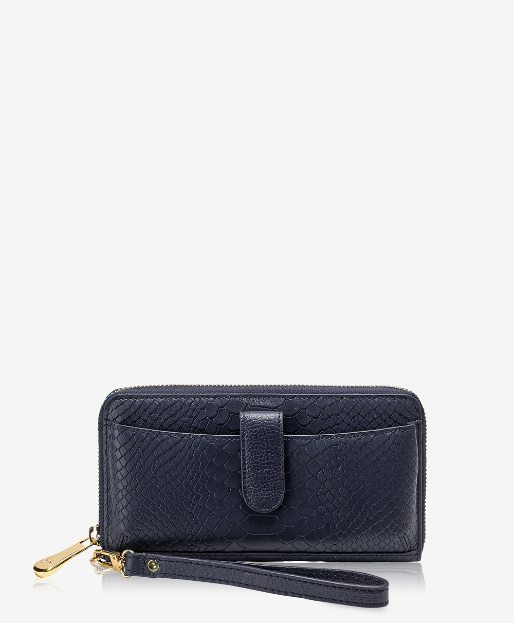 City Wallet Navy Embossed Python Leather